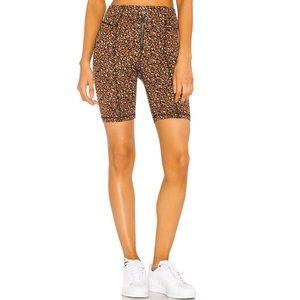 New Free People Lucky Strike leopard biker shorts